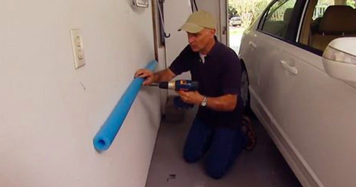 Dad hangs up pool noodle in the garage this is a clever