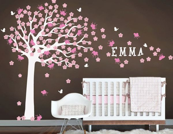 Nursery wall decals stickers large cherry blossom tree with custom name decal large madison tree