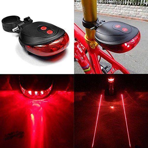 Cycling Bicycle Bike Tail Flashing Lamp Light Rear Safety Warning 2 Laser 5 LED