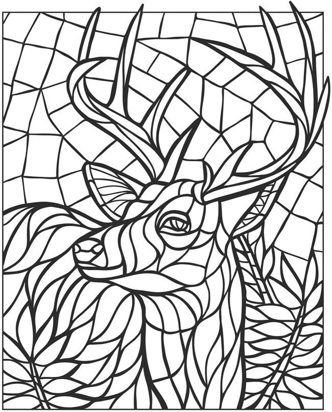 pages deer mandalas dover coloring coloring books animal mosaics - Mosaic Coloring Pages
