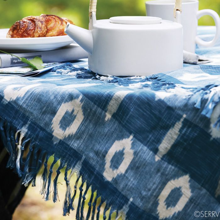 New Kitchen Blue White Ikat Tablecloth Table Cloth Indigo Tablecloth Blue And White
