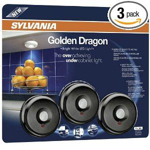 Sylvania 72422 Battery Operated Led Under Cabinet Light With Motion Sensor Function 3 Pack Black