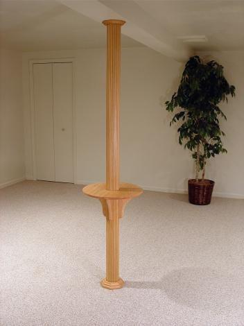 Column With Our Pole Wrap Drink Shelf, Basement Pole Drink Shelf