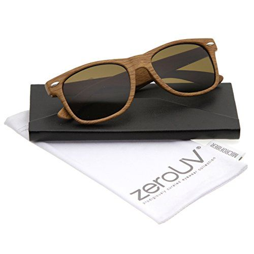 zeroUV  Classic Shape Wood Printed Square Lens Horn Rimmed Sunglasses 55mm Light Wood  Brown ** Continue to the product at the image link.