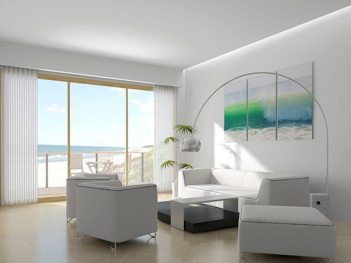 feng shui wohnen, wohnzimmer in weiß, pflanze, sofa, sessel, meer ...