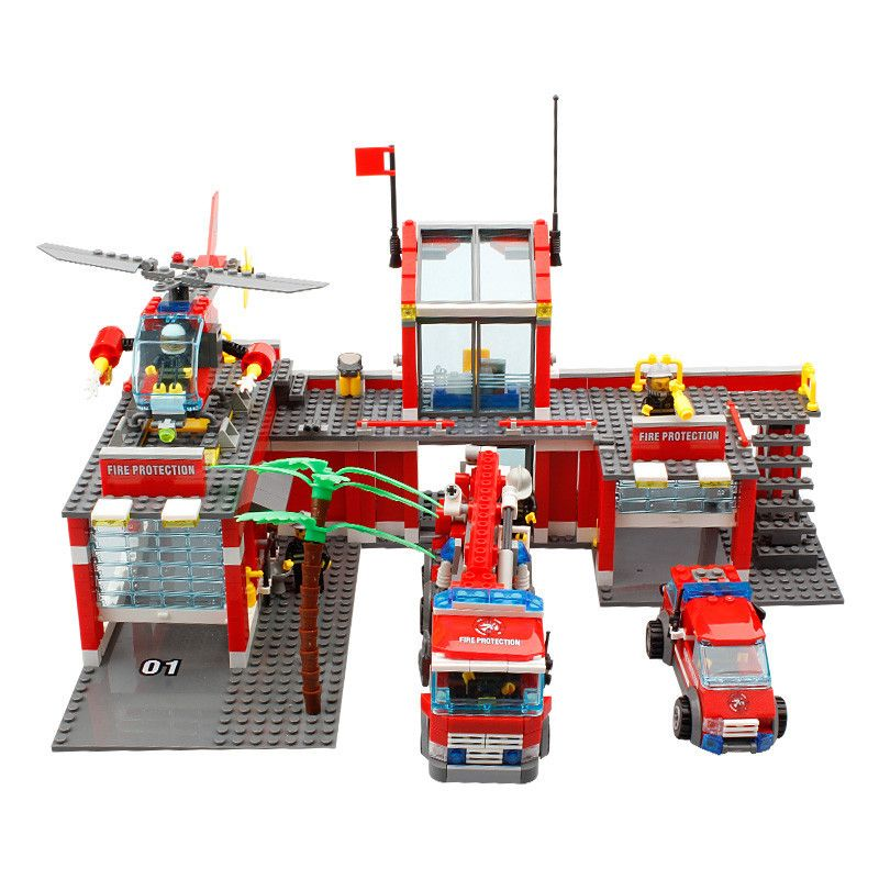 City Fire Station Truck Helicopter Firefighter Building Lego Compatible 774pcs
