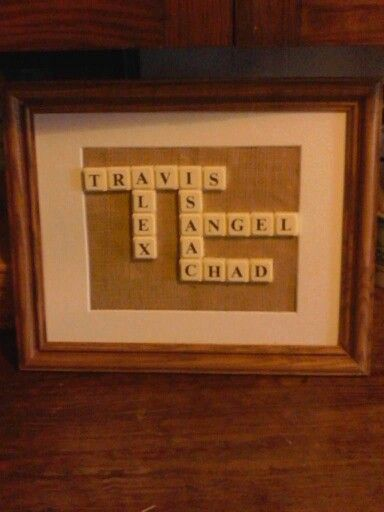 upcycled picture frame that had no glass burlap backing and scrabble letters