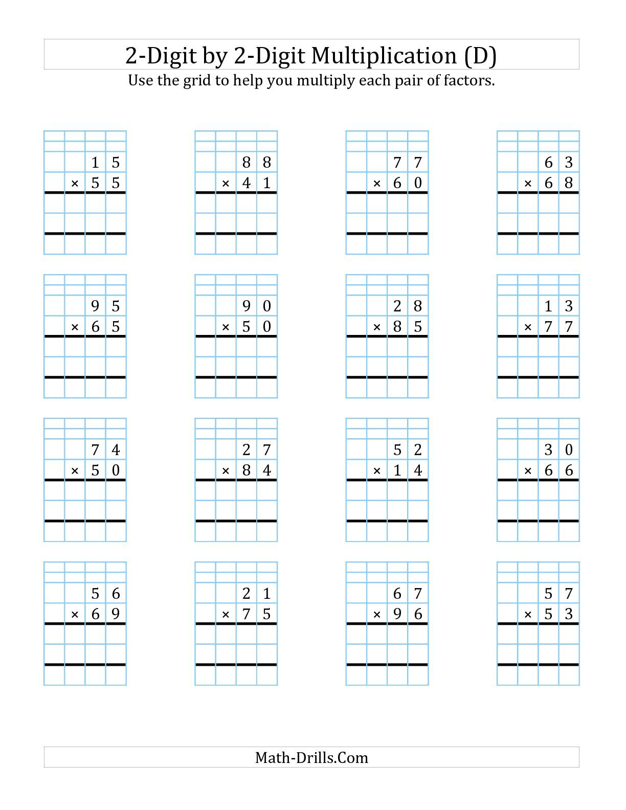 The 2 Digit By 2 Digit Multiplication With Grid Support D