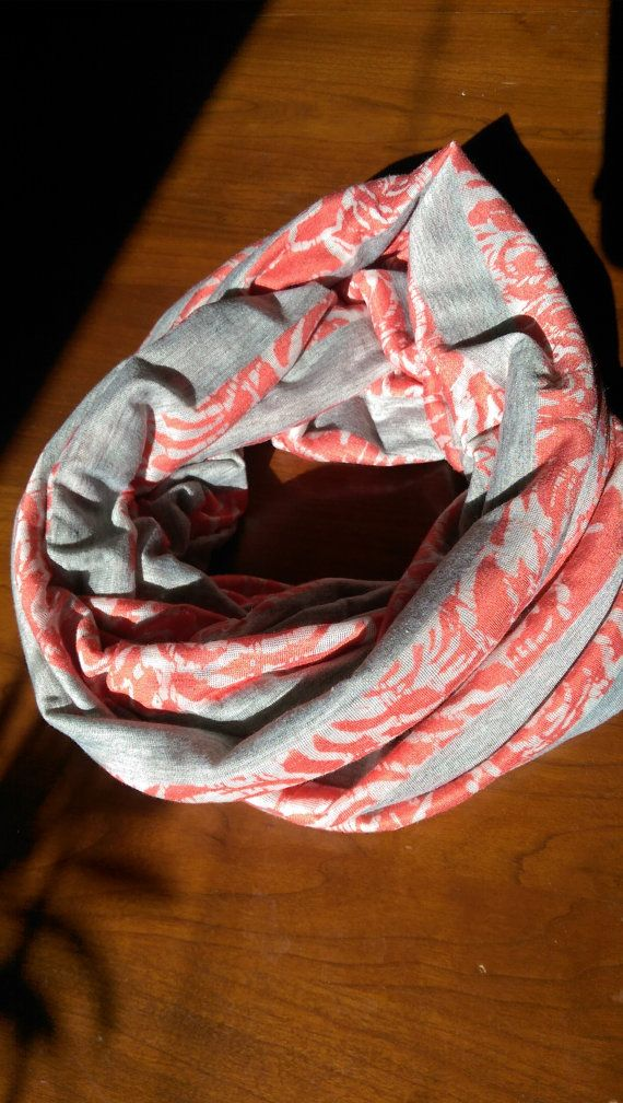 Grey and Coral Rose Infinity Scarf by InStitches42 on Etsy