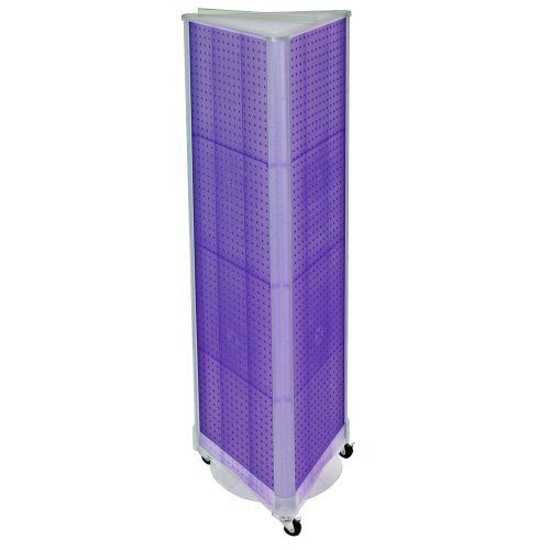 Azar 700451 Pur Three Sided Spinning Pegboard With Wheeled Plastic Base Purple Translucent Pegboard By Azar Di Plastic Pegboard Peg Board Tall Cabinet Storage