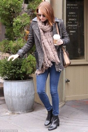 Emma Stone wearing Rag & Bone Skinny Jeans in Kensington, Maje Ribiera Coat, Rag & Bone Monroe Sunglasses in Matte Tortoise, Gucci Jackie Soft Leather Flap Shoulder Bag, Madewell Plaid Illusion Scarf and Madewell Ames Boot