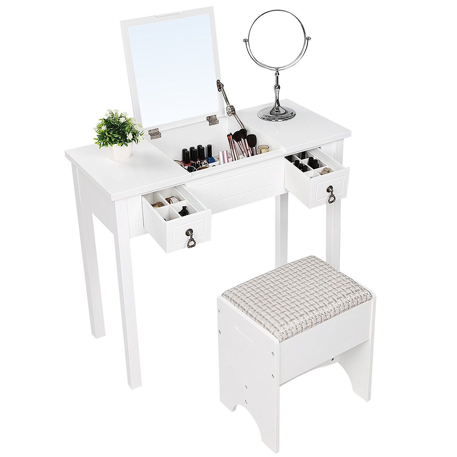 Pleasant Amazon Com Songmics Vanity Set With Flip Top Mirror Ncnpc Chair Design For Home Ncnpcorg