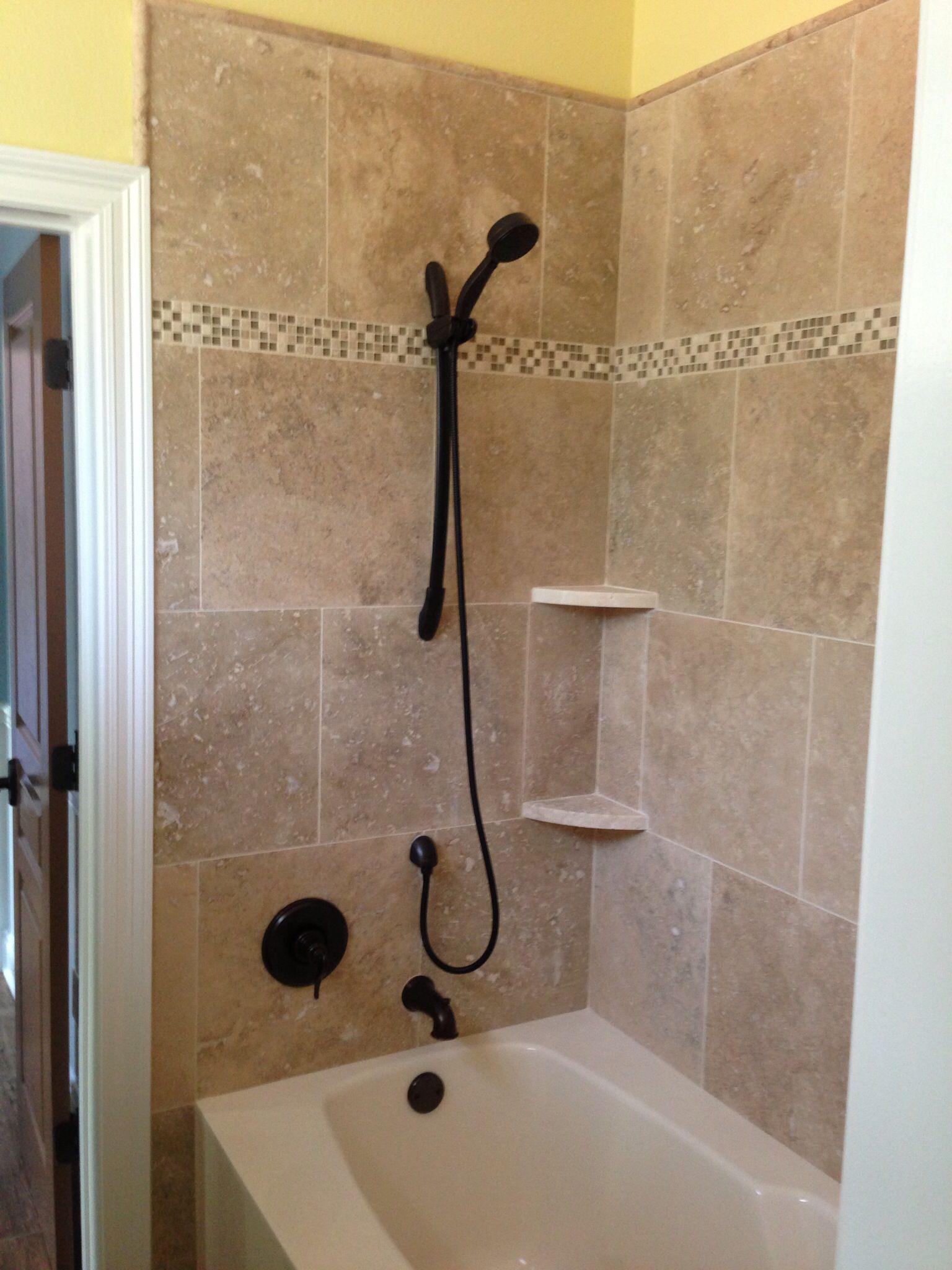 18x18 Travertine Glass Band Custom Travertine Corner Shelves Travertine Tile Bathroom Bathtub Decor Small Bathroom