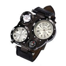 Fashion Stainless Steel Leather Men's Military Sport Analog Quartz Wrist Watch
