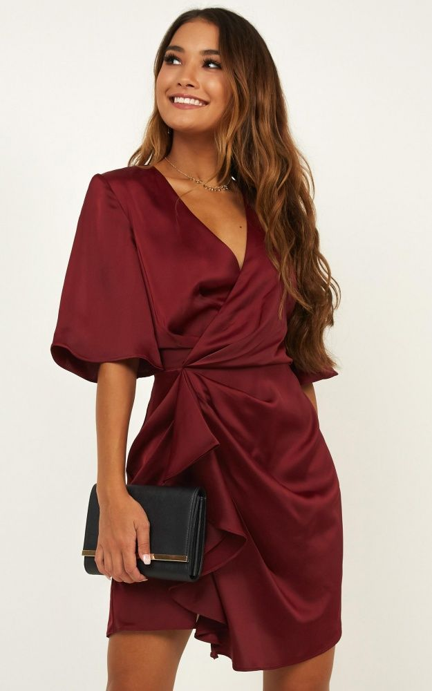 My Eyes Caress You Dress In Wine Satin Produced #cocktaildress