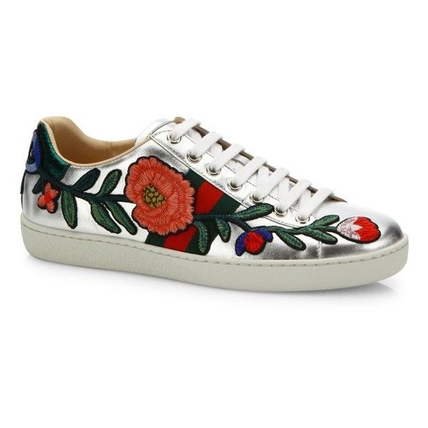 dcf802124 Gucci New Ace Floral-Embroidered Metallic Leather Sneakers ($695) ❤ liked  on Polyvore featuring shoes, sneakers, floral shoes, leather upper shoes,  ...