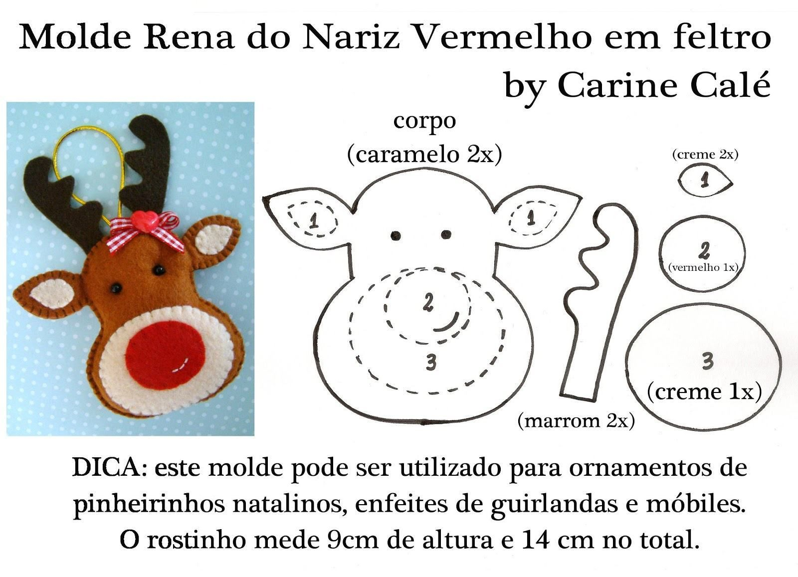 Excepcional Rena de feltro. (Foto: Divulgação) | Christmas Felt Ornaments  CP51