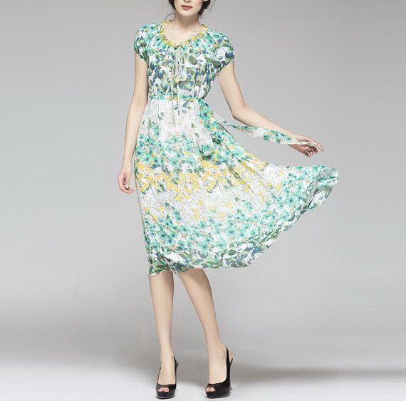 Spring summer chiffon dress: comfortable cool fresh summer look