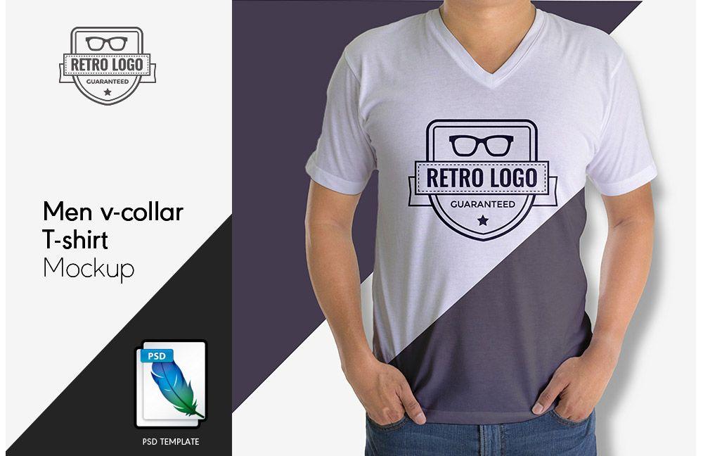 Download Free Men V Collar T Shirt Mockup Shirt Mockup Photoshop Mockup Free Free Mockup
