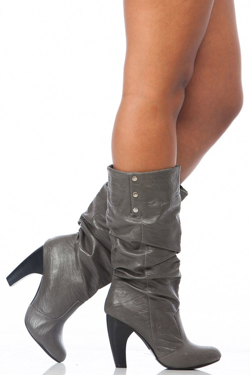 a65ba474ae7 Grey Faux Leather Winter Love Calf Length Boots @ Cicihot Boots ...