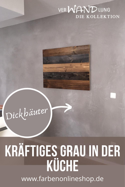 Kuche Gestaltet In Mineralputz Grau In 2020 Kalkputz Wand Putz Kuche Gestalten