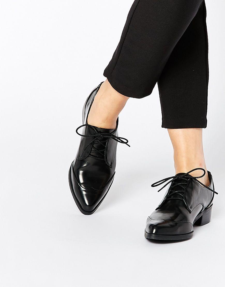 Zapatos negros de verano con cordones de punta redonda para mujer dd82IMURXQ