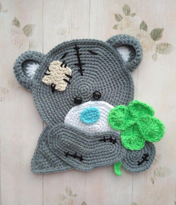 PATTERN, Teddy Bear Applique PDF Crochet Pattern Applique Crochet Pattern Crochet Clover Embellishment Accessories Motif Ornament Animal ENG