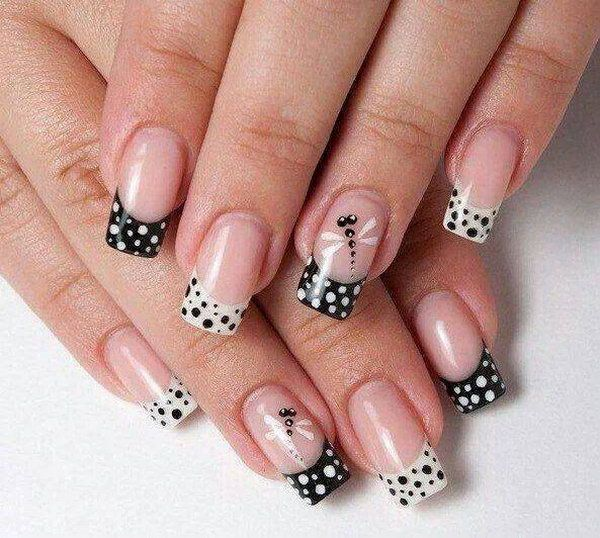 Black and white nail art designs perfect match for any parties black point and white dots nail design ideas prinsesfo Images