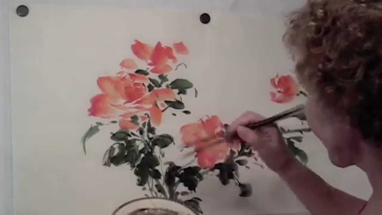 Splashy Roses Chinese Brush Painting By Virginia Lloyd Davies