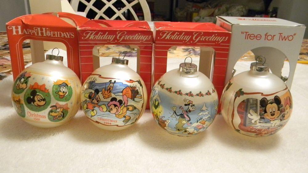 4 Vintage 80 S Disney Mickey Mouse Christmas Glass Ball Ornaments W Box Mickey Mouse Christmas Glass Ball Ornaments Disney Mickey Mouse