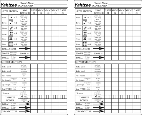 Yahtzee Score Cards  TemplatesForms