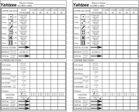 Yahtzee Score Cards TemplatesForms Pinterest – Yahtzee Score Sheets Template