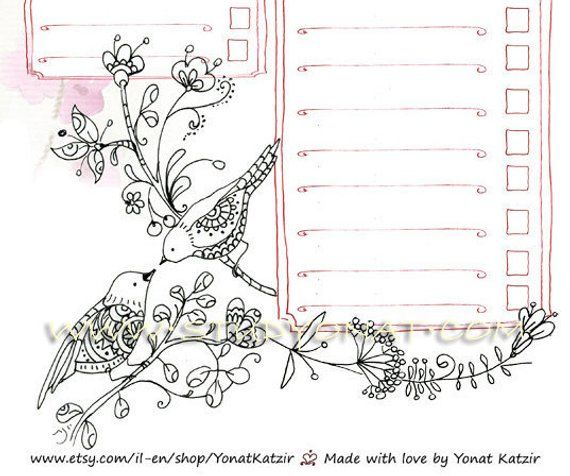 Love birds daily planner coloring pages, To do list ...