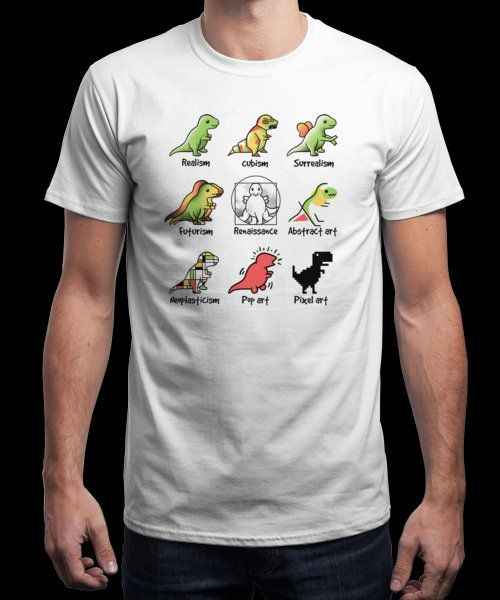 """T-rex art"" is today's £9/€11/$12 tee for 24 hours only on Pin this for… 
