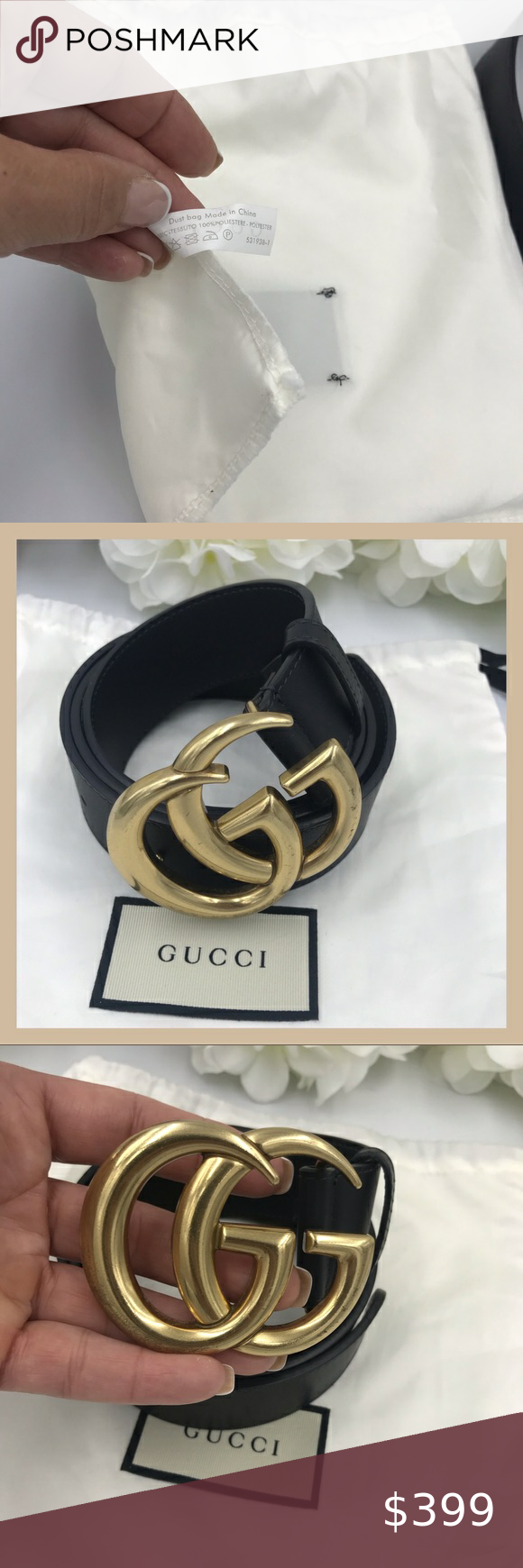 Sold Gucci Black Leather Belt Double Gg Buckle Black Leather Belt Black Gucci Belt Gucci Black