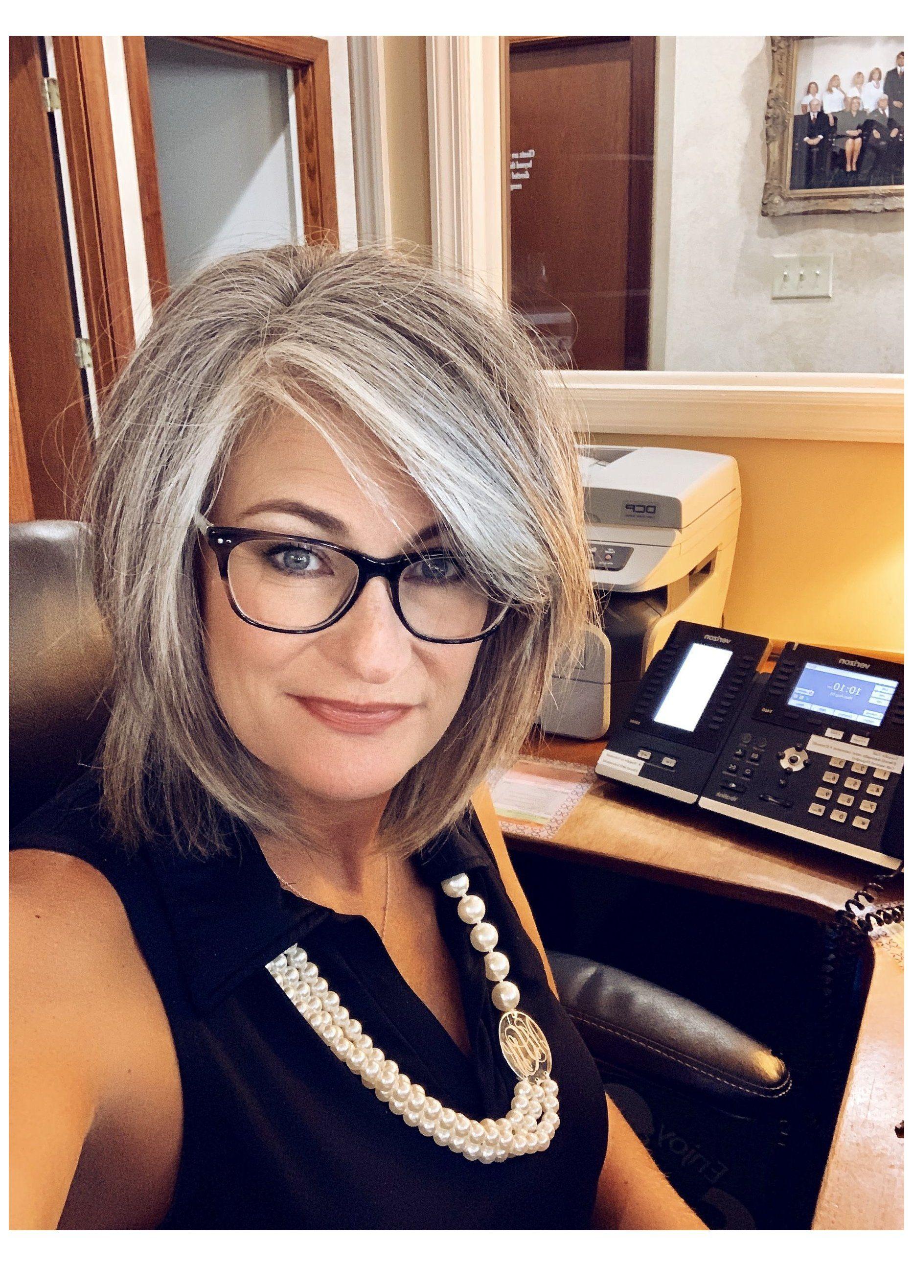 silver hair highlights going gray older women