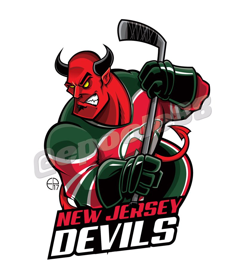 A Red Devil with the 1984 New Jersey Devils jersey .