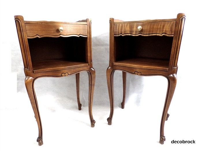 Pair of nightstands vintage wooden nightstand style Louis XV side