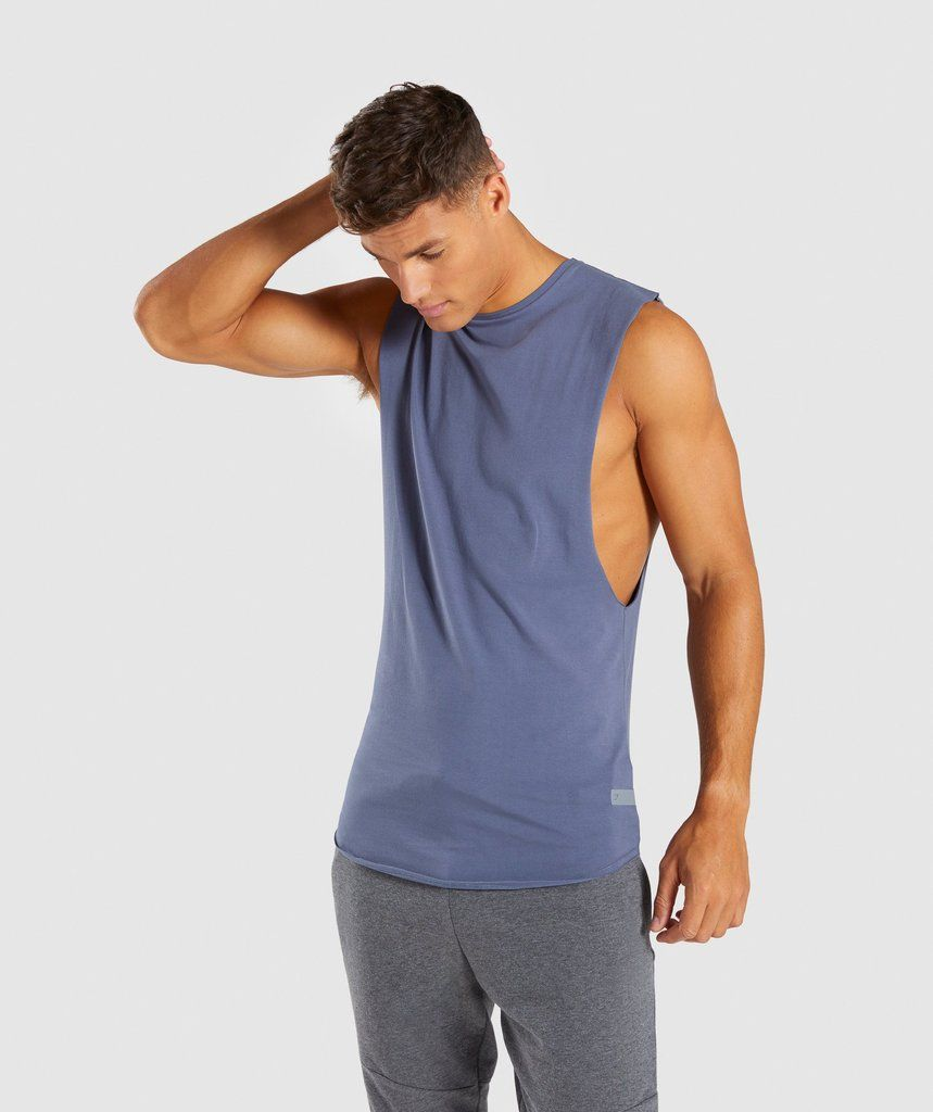 08dd7960f7b57c Gymshark Eaze Drop Arm Sleeveless T-Shirt - Aegean Blue