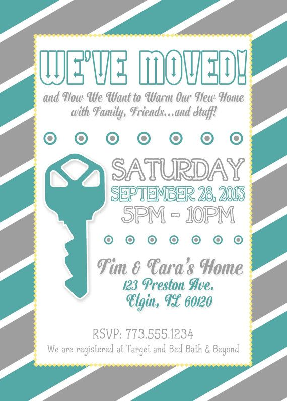 Grey And Yellow Housewarming Invitation By Lilygramdesigns