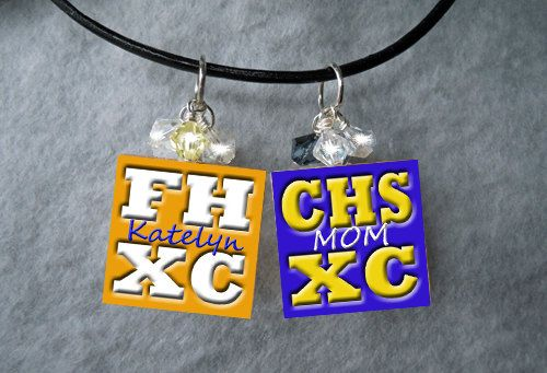 Cross Country Track Necklace w/ CHILD'S NAME by aPageofCreativity, $12.50