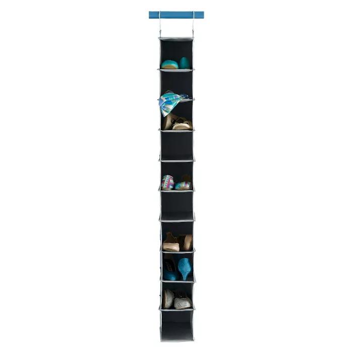 10 Shelf Hanging Shoe Storage Organizer Gray Room Essentials Hanging Shoe Storage Shoe Storage Organiser Hanging Shoes
