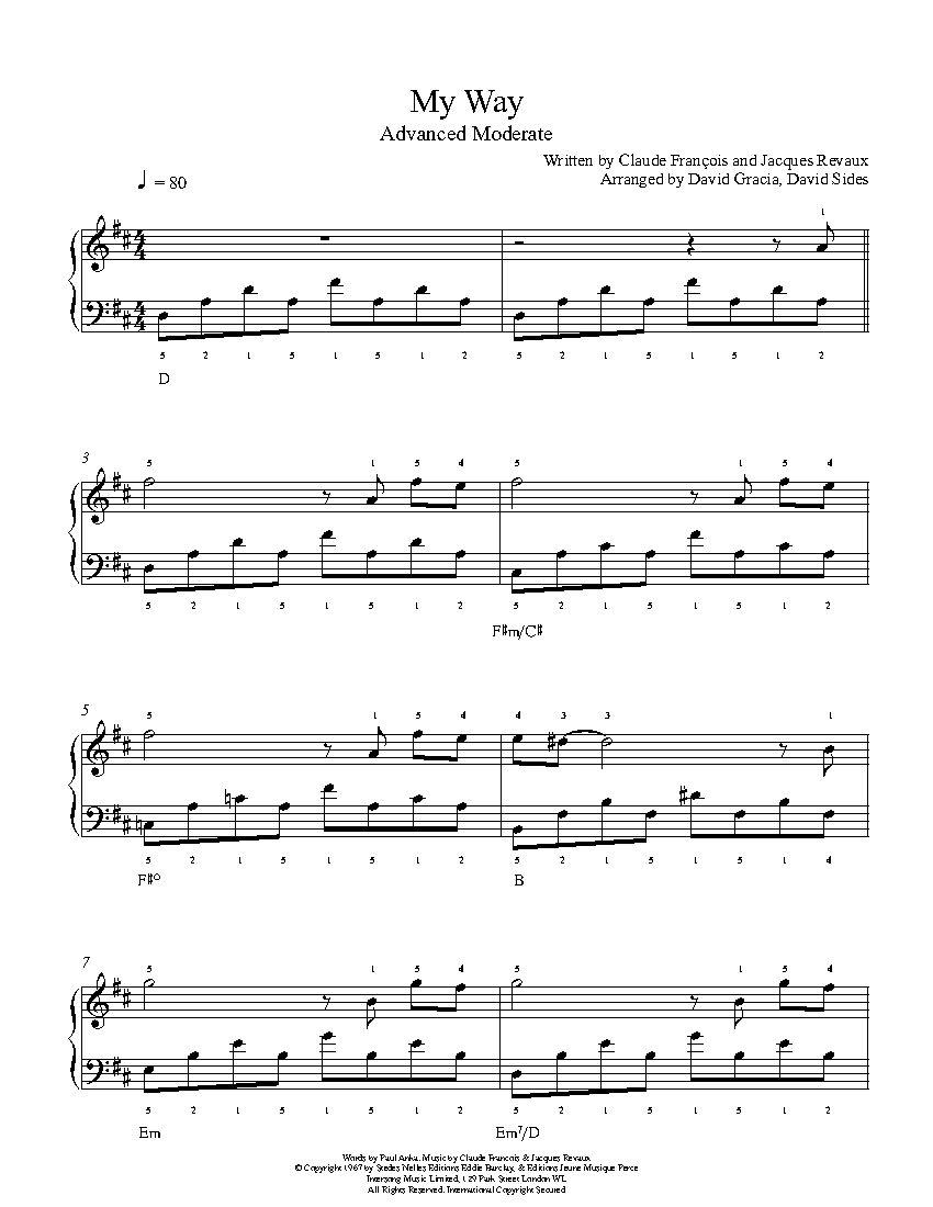 My Way By Frank Sinatra Piano Sheet Music Advanced Level Piano Sheet Music Sheet Music Violin Sheet Music