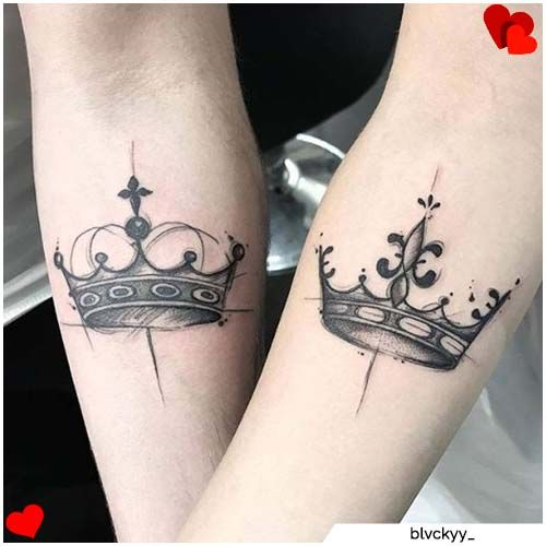tatuaggi di coppia corona king queen