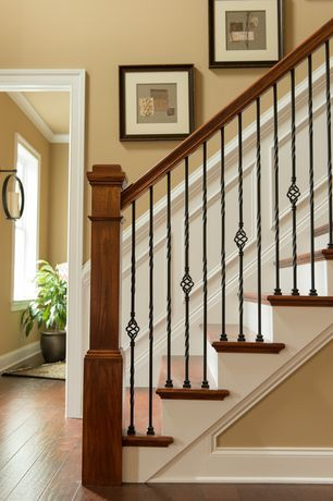 view this great craftsman staircase with wainscoting chair rail by rh pinterest com