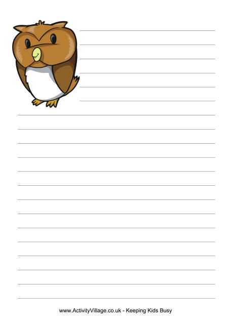 Owl Writing Paper  Everything Owl    Writing Paper And Owl