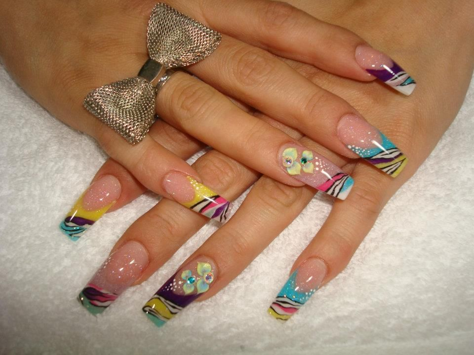 acrylics - colorful zebra nails