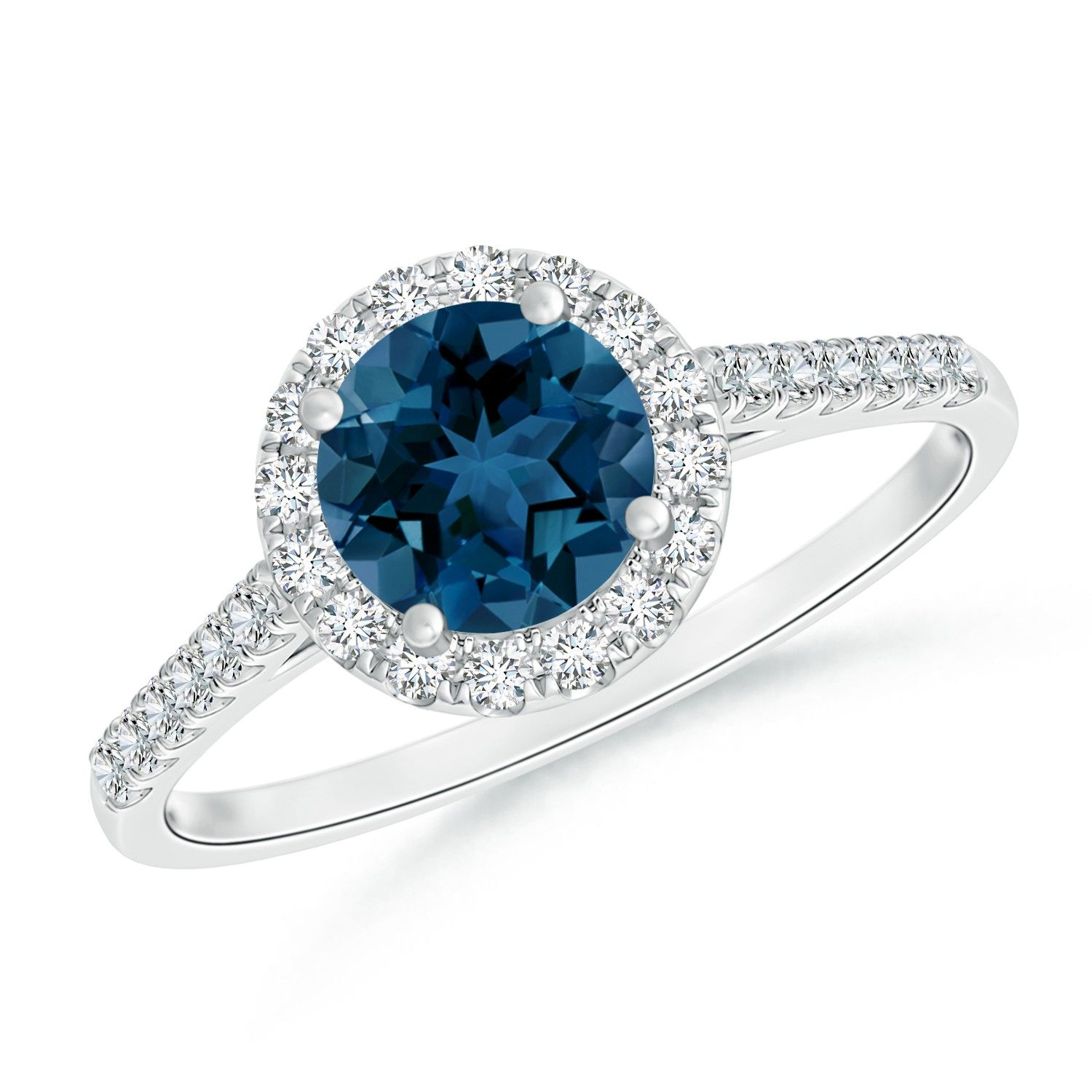Angara London Blue Topaz Ring with Diamond Halo in White Gold ltqrY2Ig
