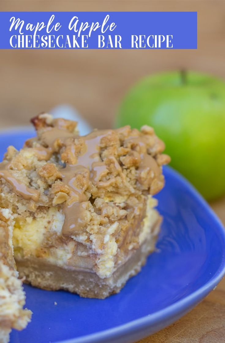 Maple Apple Cheesecake Bars Buttery shortbread crust with creamy cheesecake filled with apple chunks topped with a streusel and drizzled with tons of maple glaze, you will keep coming back to these gorgeous Maple Apple CheesecakeBars!