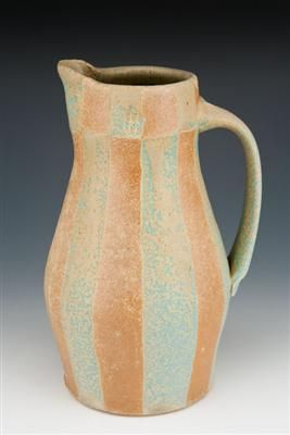 Karl Borgeson, stoneware pitcher at Akar Design, gas and salt fired.